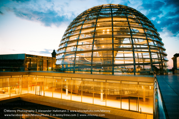 Reichstag Dome Twilight, Berlin, Germany