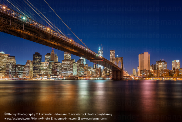 Brooklyn Bridge at Night, New York City, USA