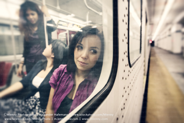 Day Dreaming Woman in the Subway