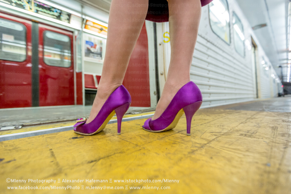High Heels,Woman at Subway Train
