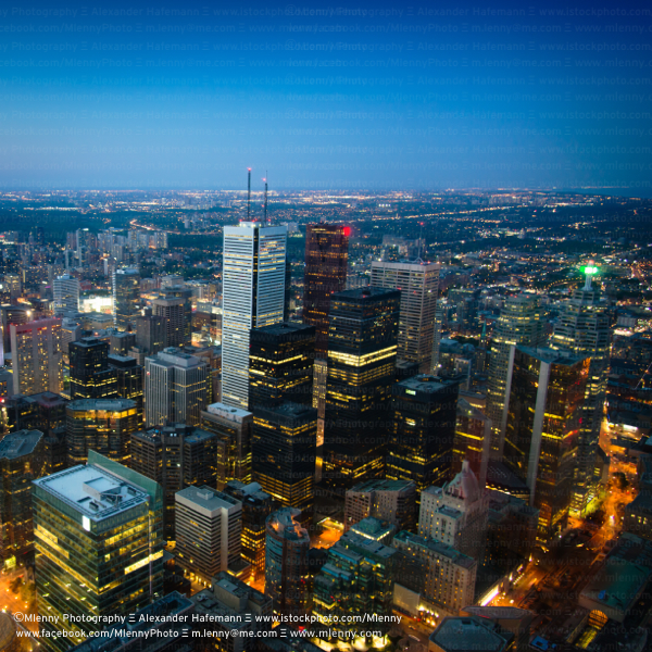 Toronto City Skyscrapers by Night, Canada