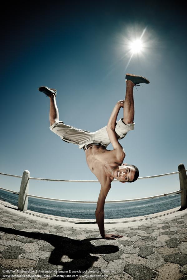 Upside Down Break Dance Action