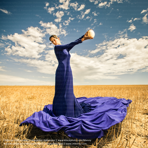 Blue Gown Woman Fashion Portrait