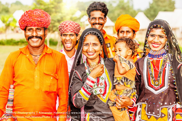 Traditional Indian Family Portrait,Rajasthan,India