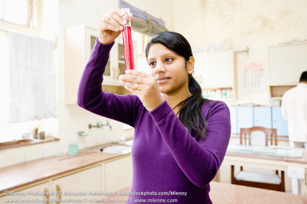 Young Indian Student in Chemistry Class, New Delhi University, India