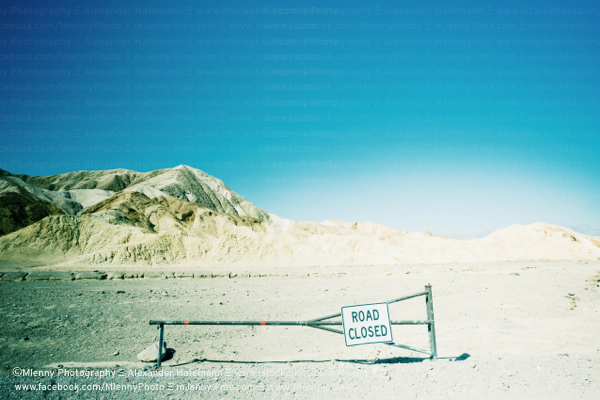 Road Closed, Zabriskie Point, California, USA
