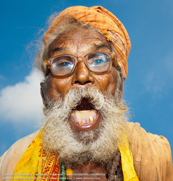 Screaming Indian Senior, Rajasthan, India