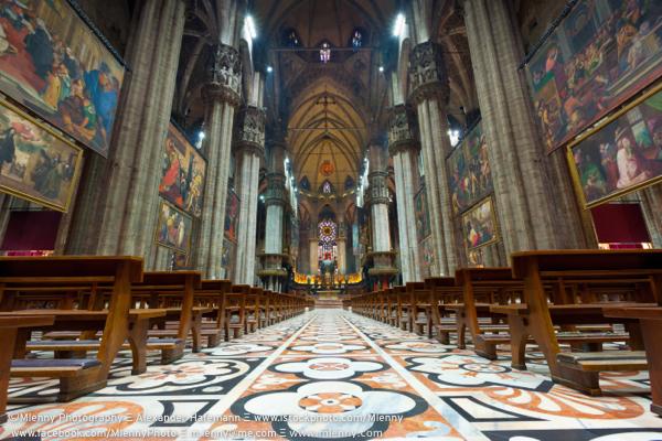 Duomo di Milano Cathedral Interior View Milan, Italy