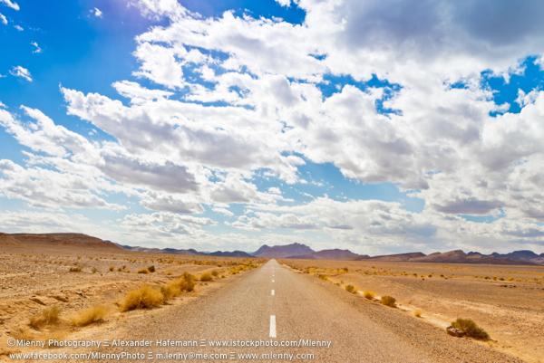 Empty Highway to the Horizon,Erfoud, Morocco