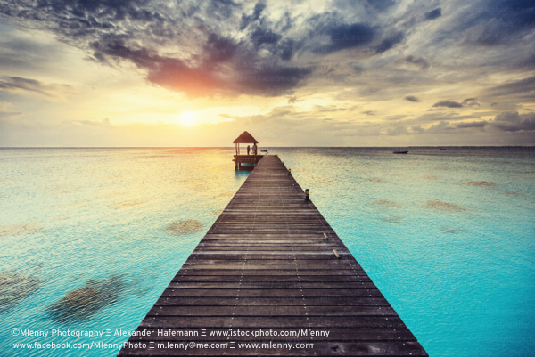 Sunset at Jetty, Fakarava Island Tuamoto Archipelago, French Polynesia