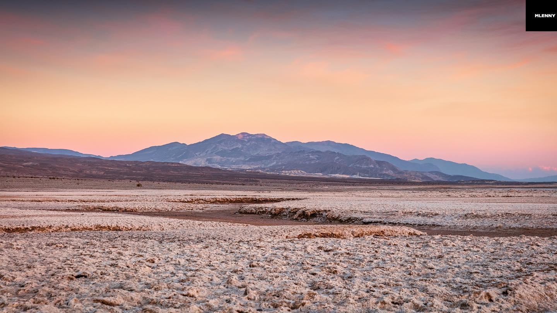 Badwater Basin Salt Flats Sunset Panorama, Death Valley, California, USA