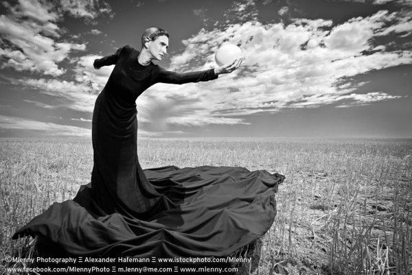 Surreal Fashion Portrait Black and White