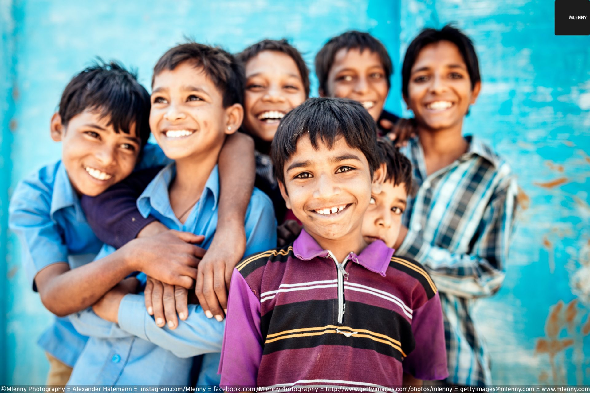 Smiling Happy Indian School Boys Together Rajasthan India