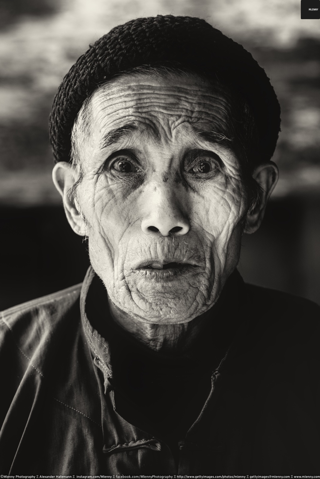 Senior Chinese Man BW Portrait Zhao Xing, China