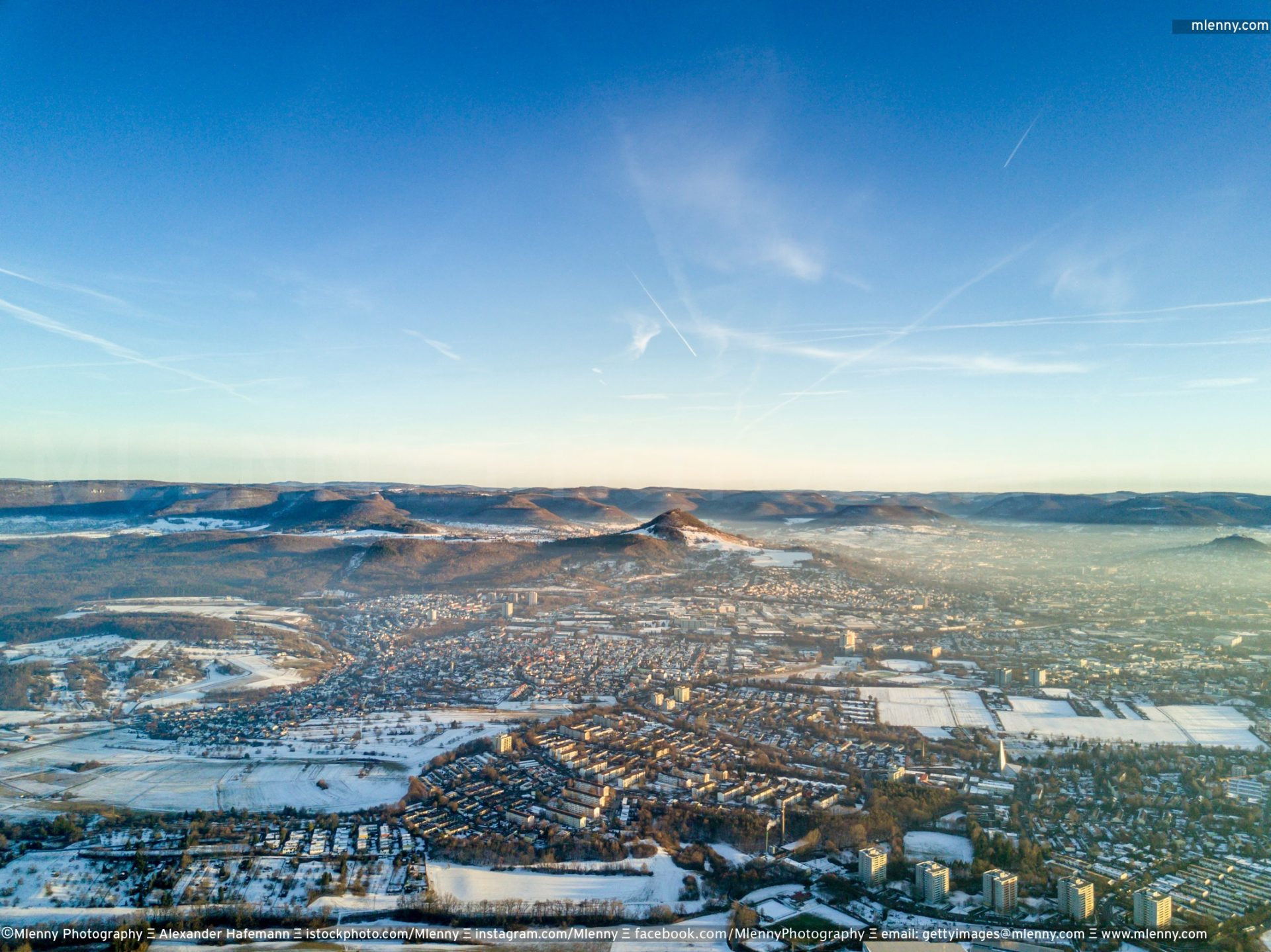 Reutlingen Achalm Swabian Alb Aerial View in Winter, Germany