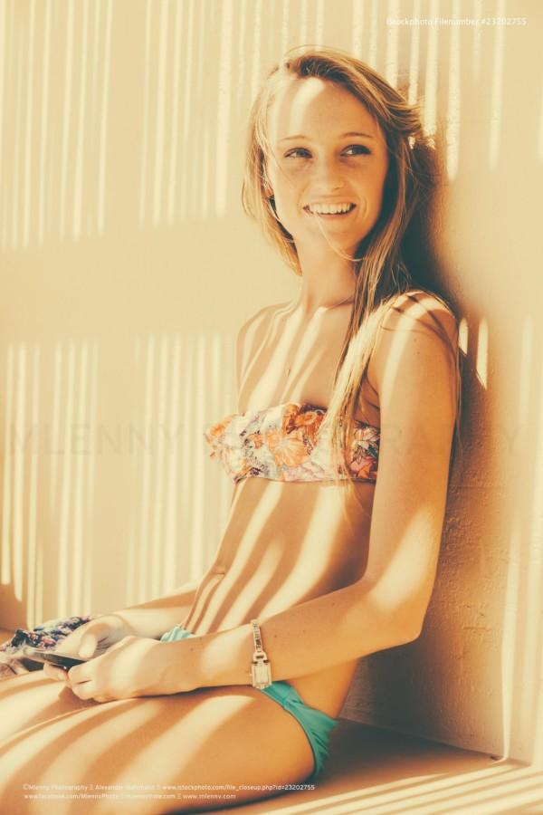 Blond Girl in Bikini, Summer Scene, Polaroid Style