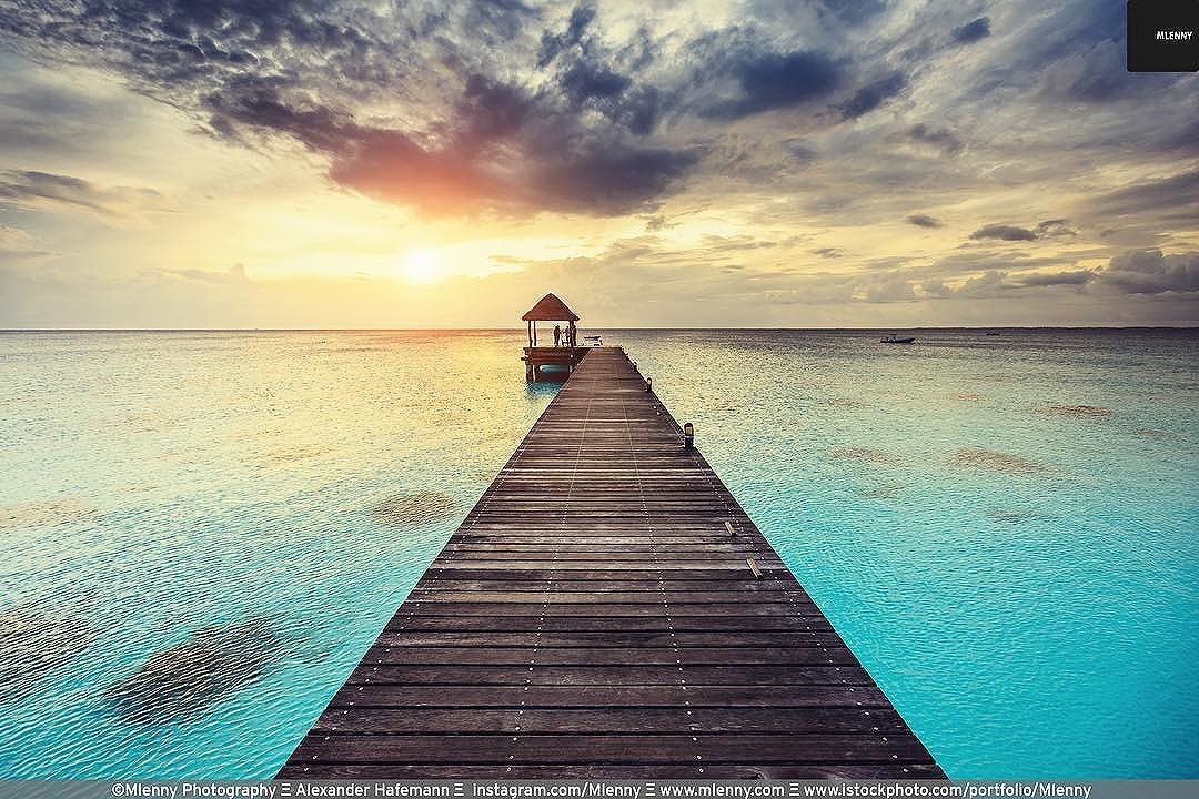 Sunset in Paradise. Beautiful Colors at Lagoon Jetty Fakarava Atoll Archipelago . .