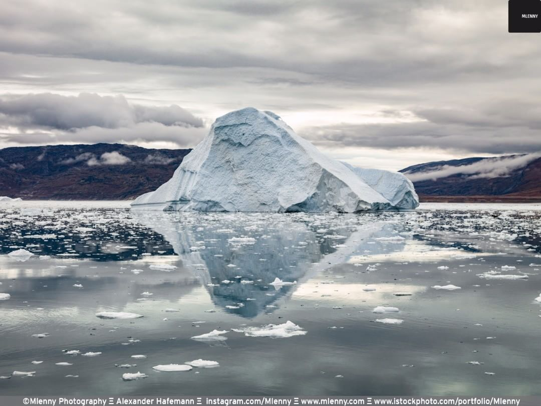 Disko Bay Giant Iceberg Reflections Artic Sea