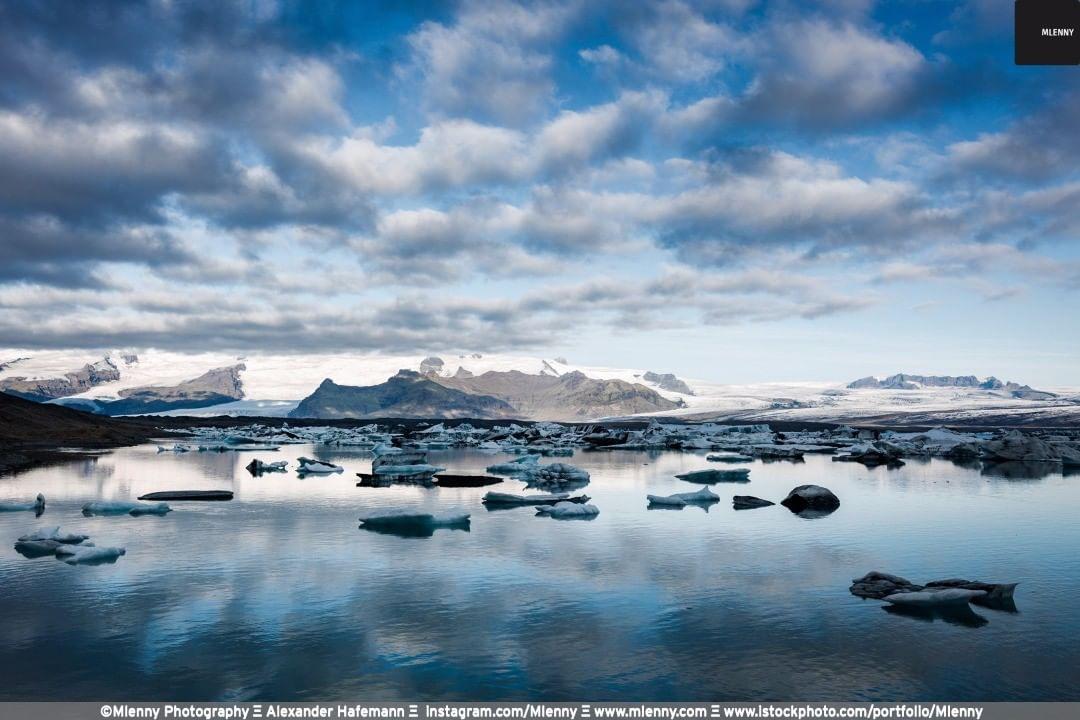 Jökulsárlón Glacier Lagoon after Sunrise, Vatnajökull National Park, Southeastern Iceland.