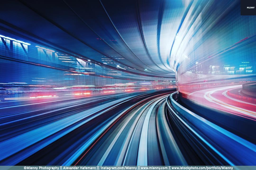 Speed. Monorail Odaiba Tokyo, Japan.