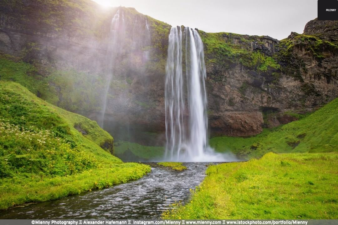 Seljalandsfoss Waterfall Sunset, Iceland