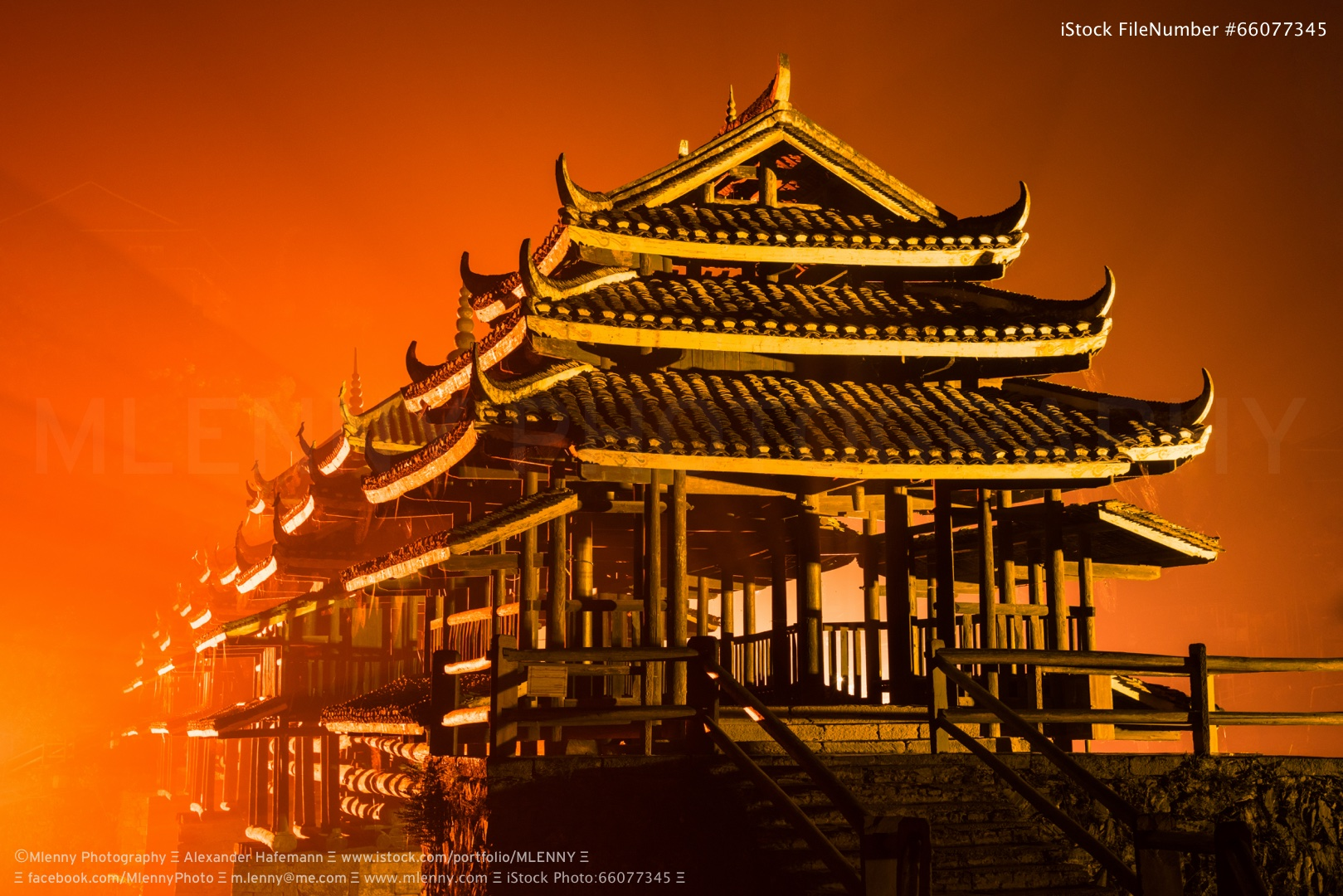 Fire in the Sky Chengyang Wind and Rain Bridge at Night, China