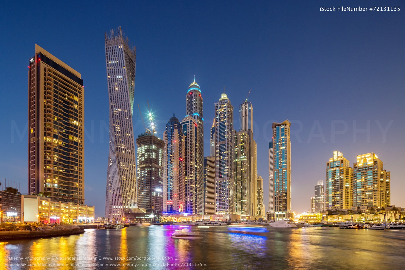Dubai Marina at Night United Arab Emirates