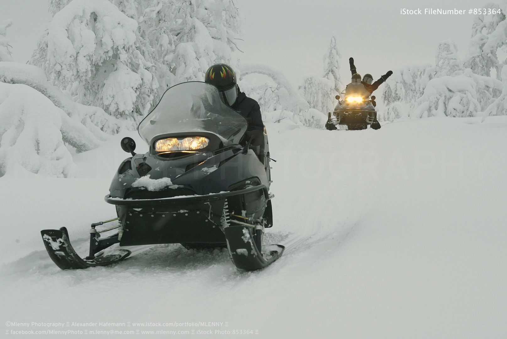 Snow Landscape in Lapland - Finland - Europe. Snowmobile Expedition through the Ice Cold Northern Europe in Winter.