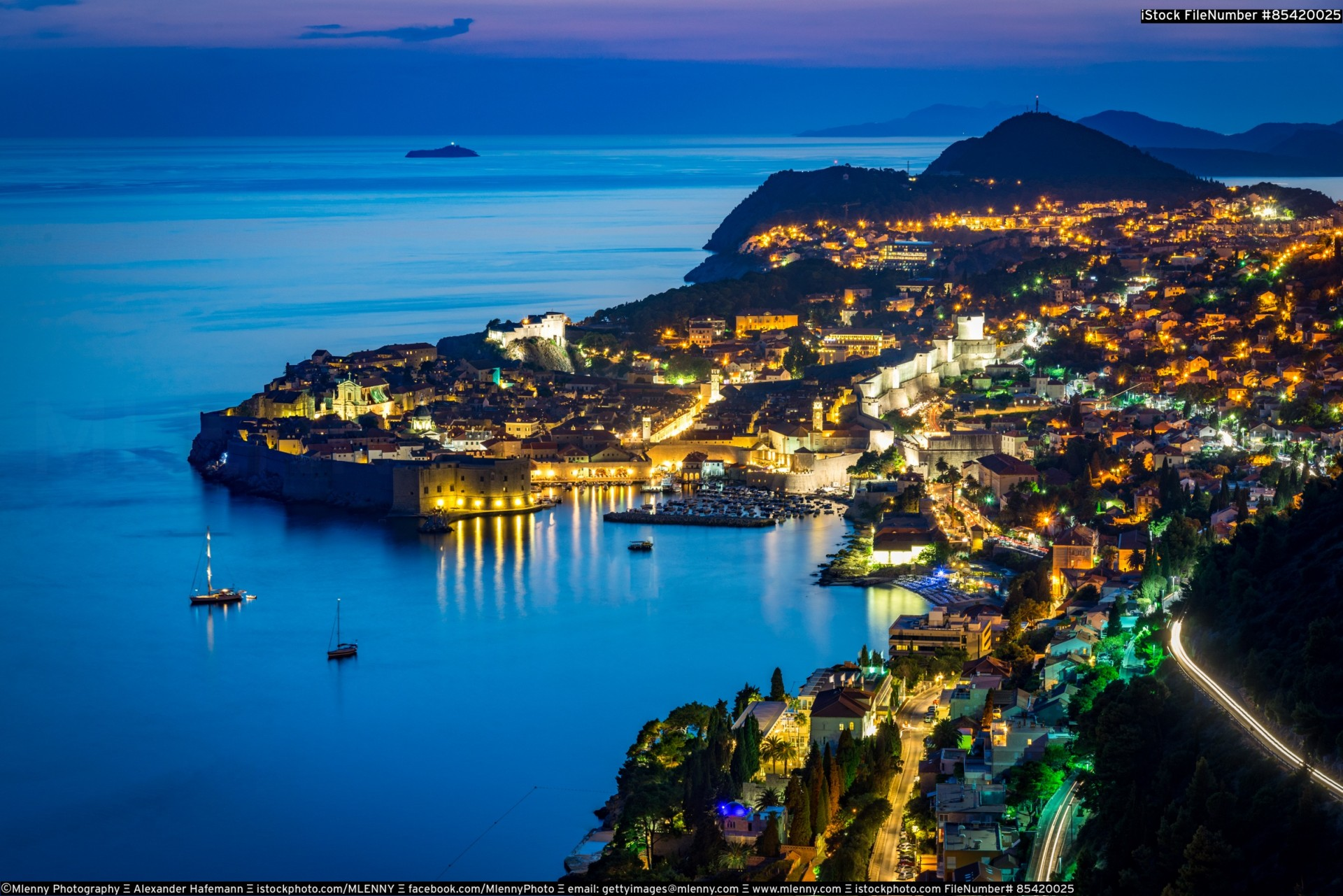 Beautiful Dubrovnik at Night Croatia