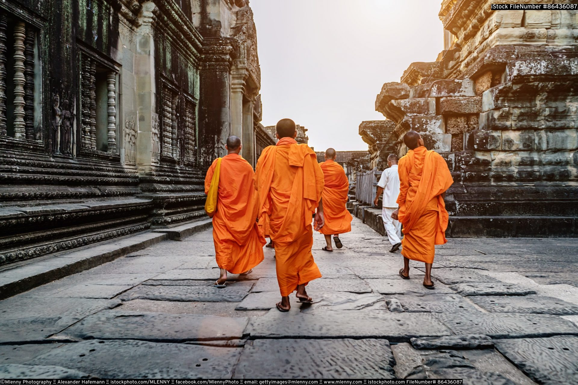 Monks in Angkor Wat Cambodia