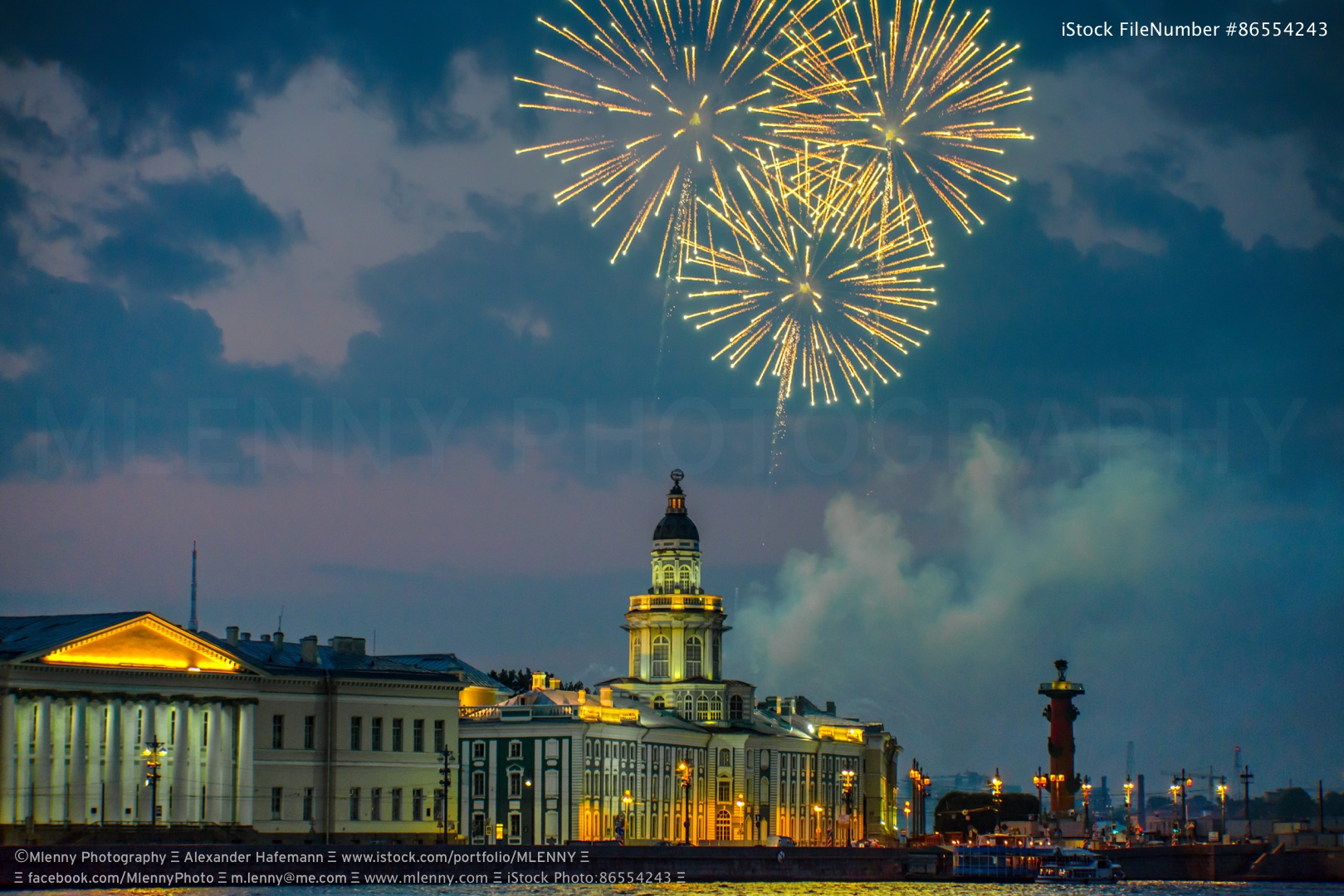 Saint Petersburg Fireworks Neva River Russia