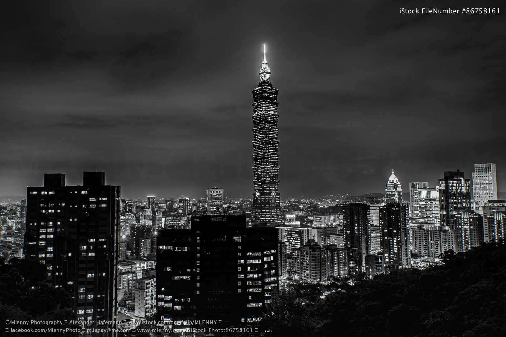 Taipei Cityscape at Night Taiwan BW