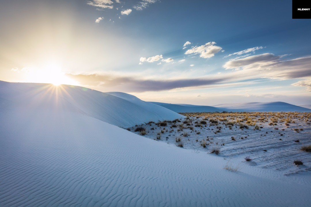 New Mexico White Sands Desert Dunes Sunset