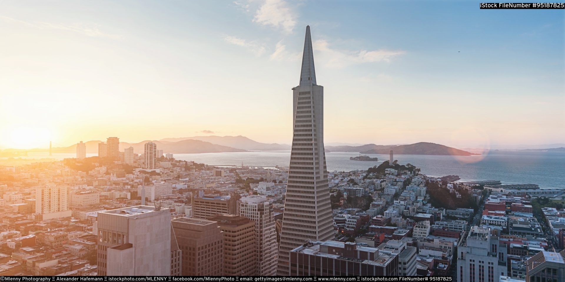 Aerial View San Francisco Skyline Sunset Panorama