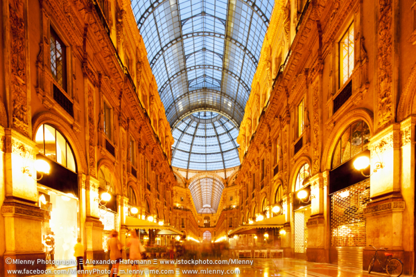 Galleria Vittorio Emanuele II by Night, Milan, Italy